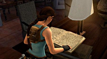 Lara Croft reading a book