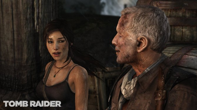 Lara shares a moment with her mentor, Conrad Roth (Image credit: Tomb Raider)