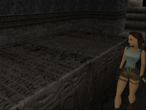 Lara Croft, a brilliant explorer and talented linguist with a complete disregard for archaeological ethics (Image credit: Katie's Tomb Raider Screenshots)