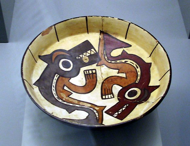 A Nasca plate depicting two mythical killer whales (Image credit: Wikimedia Commons)