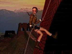 Lara Croft at the Great Wall