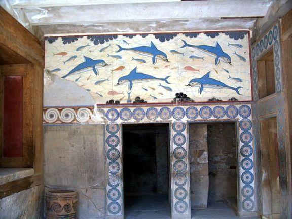 A replica of the dolphin fresco found at Knossos