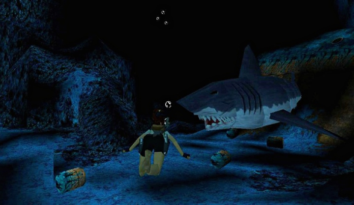 Image result for Tomb Raider 2 Great white shark