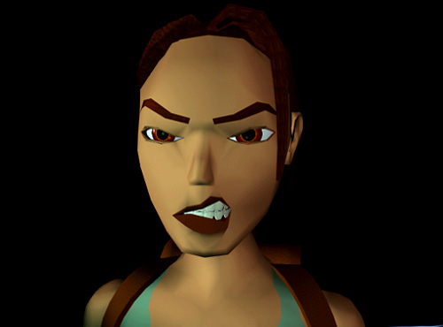 Lara Croft snarling