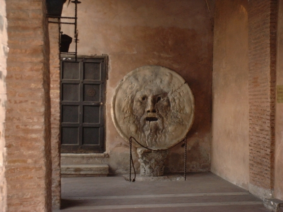 The Mouth of Truth (Bocca della Verità) in the portico of Santa Maria in Cosmedin, Rome