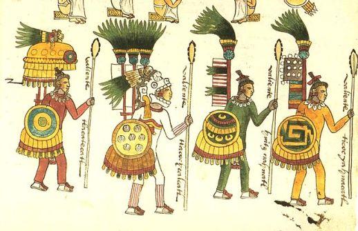 Aztec warriors as seen in the Codex Mendoza