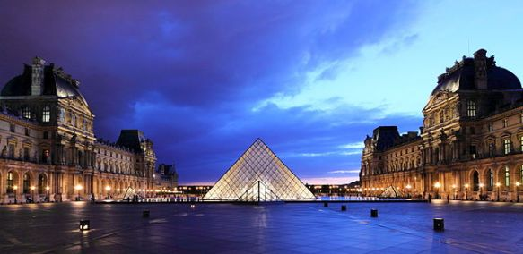 The Louvre at dusk