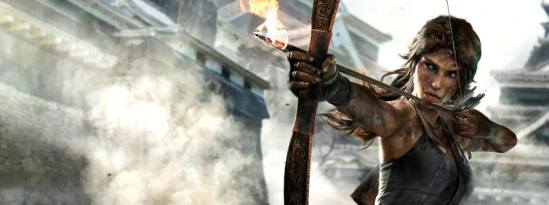 Lara Croft with a bow and fire arrow