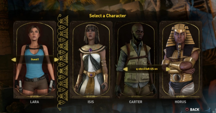 The four playable characters of Lara Croft & the Temple of Osiris