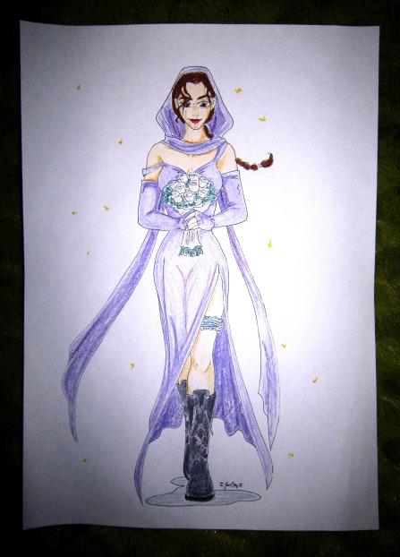 Lara Croft in wedding dress