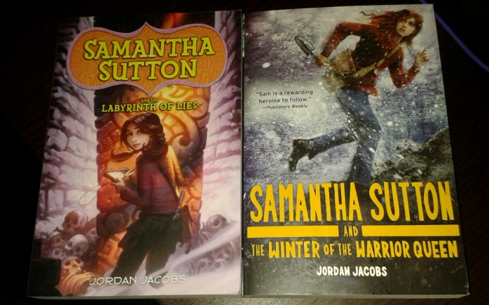 Review copies of Samantha Sutton & the Labyrinth of Lies and Samantha Sutton & the Winter of the Warrior Queen, sent to me by the author, Jordan Jacobs.