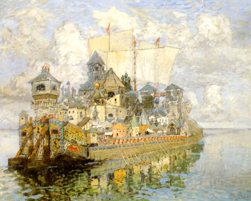 The lost city of Kitezh as envisioned by the Russian painter Konstantin Gorbatov
