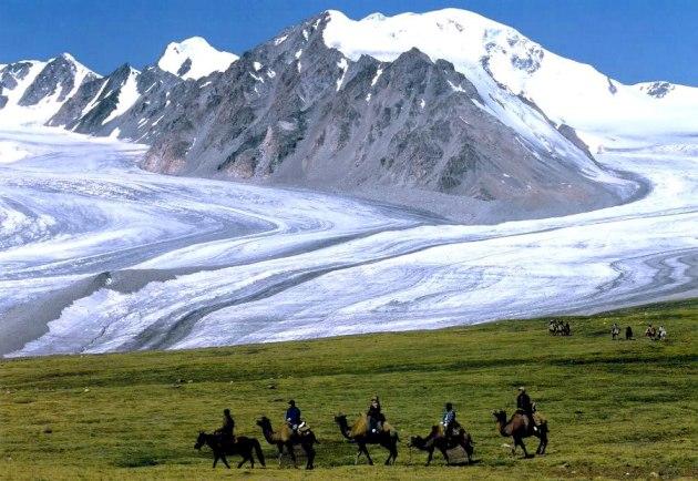 A glacier in the Tavan Bogd National Park in western Mongolia