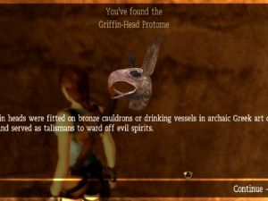 The griffin-head protome as seen in Tomb Raider: Anniversary