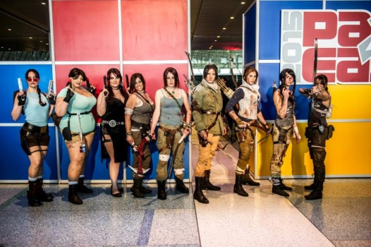 A group of Lara Croft cosplayers at PAX East 2015