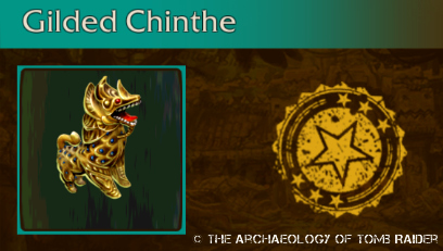 The gilded chinthe figure found in Relic Run's Jungle Temple level