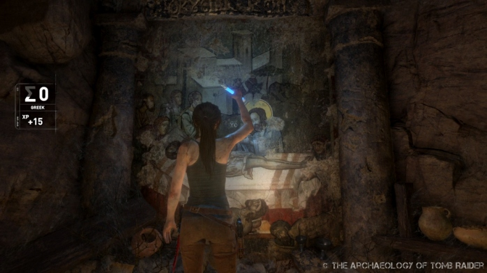 Lara gains language XP by studying the murals and inscriptions around her