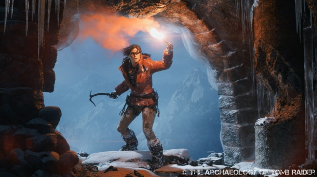 Lara taking her first few steps into an icy cavern in the latest teaser trailer