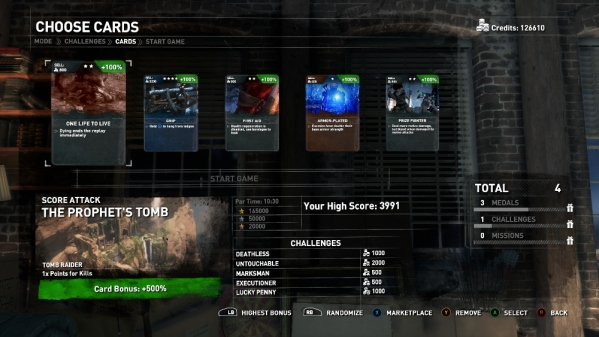 Screenshot demonstrating the use of Expedition Cards in the game's Score Attack mode