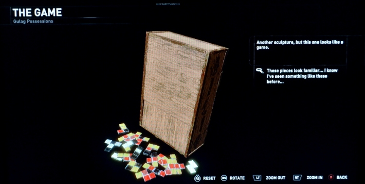 Lara finds these familiar game pieces in a former gulag