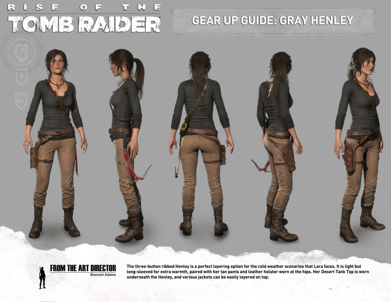 Lara Croft's Grey Henley outfit