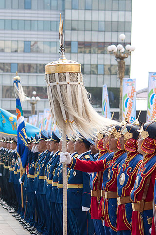 One of the Nine White Banners on display in Ulaanbaatar