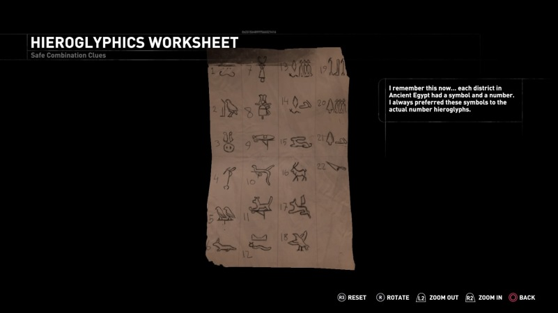 A closer look at Lara's hieroglyphs worksheet (Screenshot taken by Kelly M)
