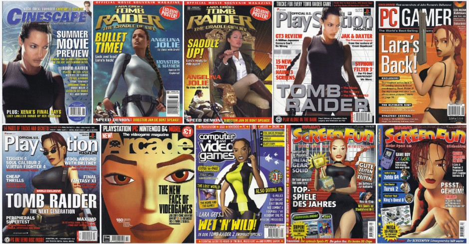 A tiny selection of the many covers Lara Croft has appeared on over her 20-year history