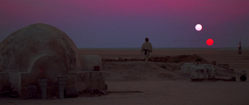 Tatooine's binary sunset (Image credit: Wikimedia Commons)
