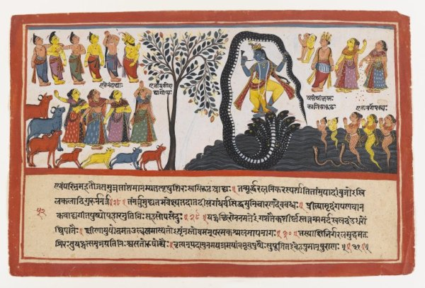 The Hindu god Krishna conquers the nāga known as Kaliya. Kaliya's wives can be seen in the bottom right corner (Image credit: Brooklyn Museum/Wikimedia Commons)