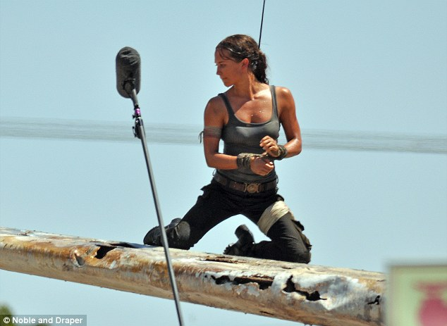 Alicia Vikander of the set of 'Tomb Raider' (2018) (Image credit: Noble & Draper/Daily Mail)