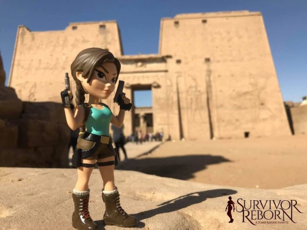 Lara Croft poses in front of the Temple of Horus at Edfu (Image credit: Lori of Survivor Reborn)