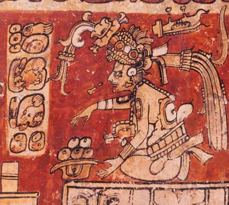 A depiction of the god Itzamná as depicted on a cylinder vessel (Image credit: Wikimedia Commons)