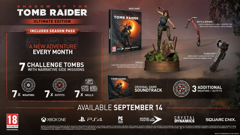 'Shadow of the Tomb Raider' Ultimate Edition will only be available for the PS4 and Xbox One.