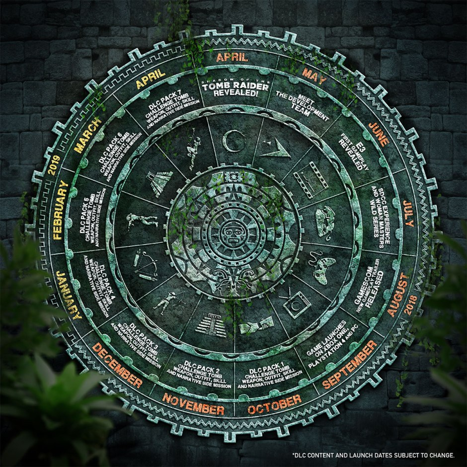 The Maya-themed events calendar listing events up to and including April 2019. (Image credit: Square Enix)