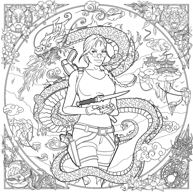This Tomb Raider II-inspired artwork is one of the fan submissions included in the official Tomb Raider Coloring Book (Image credit: Maxim Ragey)