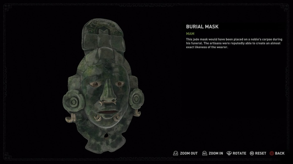 The jade burial mask unearthed by Lara Croft in Shadow of the Tomb Raider (Screenshot by Tomb Raider Horizons)