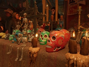Decorative skulls seen in Shadow of the Tomb Raider's Cozumel level (Image credit: Tomb Raider Horizons)