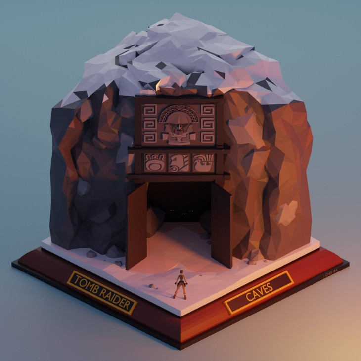 Jason Chester's model of the Tomb Raider 1 level 'Caves'