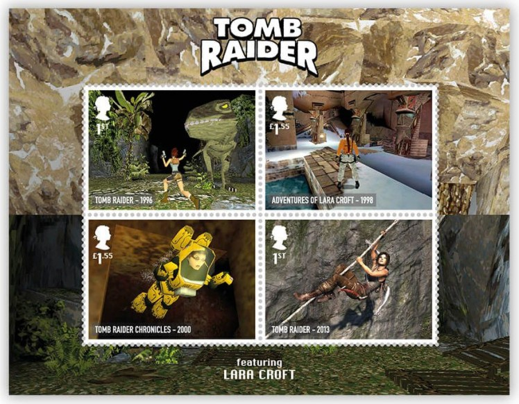 Royal Mail's Tomb Raider miniature sheet stamps