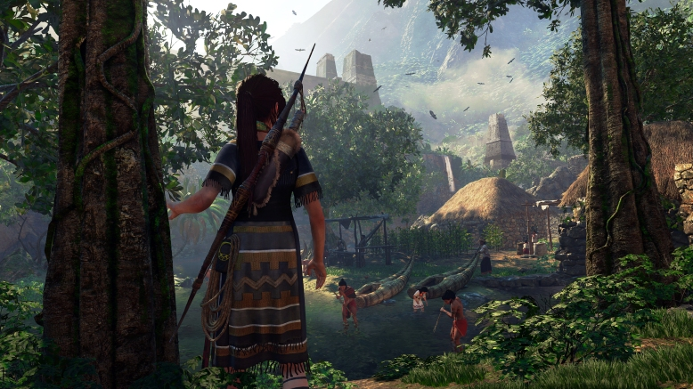 Lara Croft encounters the villagers of Paititi